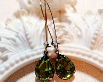 CIJ Sale 20% Off Olive Earrings - Christmas Gifts for Sister - Military Green Earrings - Victorian Jewelry - SOMERSET Olive