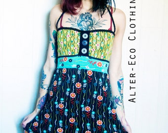 Floran Button DRESS - Organic Eco Babydoll dress - S/M One of a Kind ooak