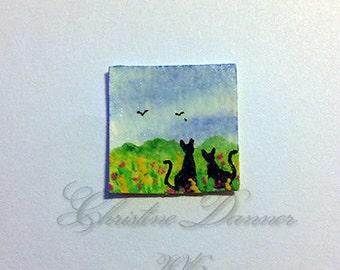 Tiny Miniature Dollhouse Art 3/4 x 3/4 inch Painting Black Cats & Birds