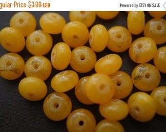 SUMMER SALE Translucent Honey Golden Amber Made with Natural Resins Flat Round Rondelle Beads - 8mm x 4.5mm - 30 pcs over 5 Inches Long