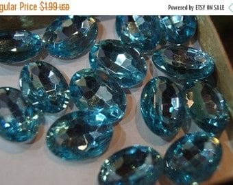 ON SALE CLOSEOUT - Faceted Light Aqua Blue Oval Cabochons - 13mm x 18mm - 10 pcs