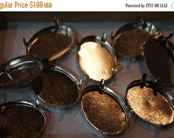 ON SALE CLOSEOUT- Metal Base Settings for Oval Cabochons - 13mm x 18mm - 10 pcs