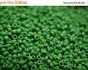 SUMMER SALE NEW - Small Summer Green Color Czech Glass Round Beads - 2mm - 1000 pcs