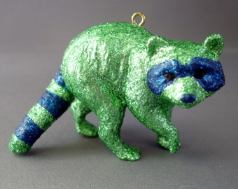 Glitter Menagerie Raccoon Ornament
