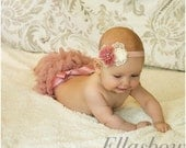 Baby full ruffle diaper cover..bloomer and Shabby Chic Floral Headband...Hairbows...headband and Diaper Cover...custom sizes