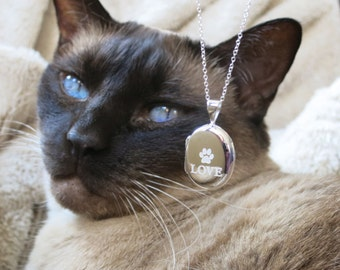 Love My Paw sterling silver locket With Sterling Silver Chain
