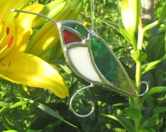Iridescent Hummingbird  Stained Glass Christmas Ornament or  Home Decor Suncatcher
