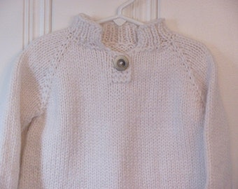 Child's Hand Knit Sweater- White Knit Sweater-Child's Pullover