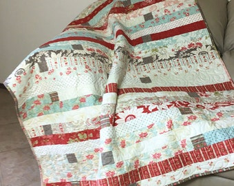 Quilted Throw, Cottage Chic Lap Quilt in Coral Pink, Sea Glass Blue, Bisque and Linen
