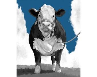 Welcome to the Pasture Indigo Art Print 8 X 10