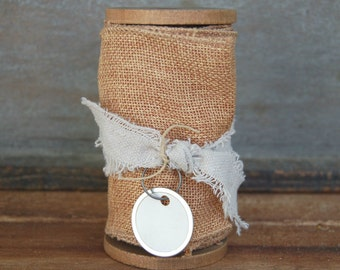 Natural hopsack ribbon on handmade wood spool