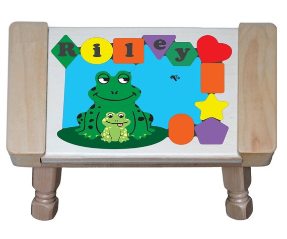 Personalized Name Frog Theme Puzzle Stool Leap Into Teaching