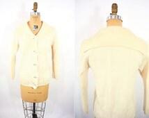 1960s cardigan vintage 60s cream silver button down sailor sweater S/M