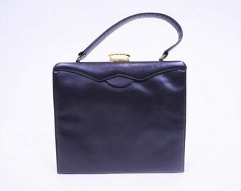 1960s navy purse | navy blue box kelly handbag | vintage 60s purse