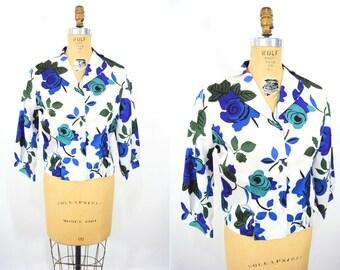 1950s blouse vintage 50s blue floral rose print white top L/XL