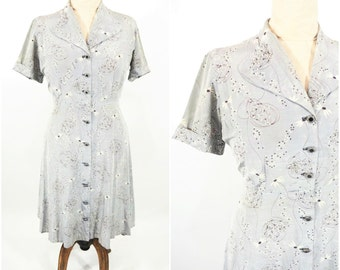 1940s novelty dress | gray floral novelty print cocktail dress | vintage 40s dress | AS IS W 31""