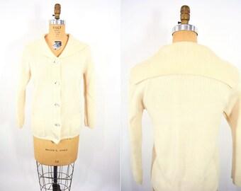 "1960s sailor cardigan   cream silver button down sweater   vintage 60s cardi   W 32"""