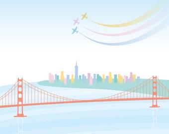 Downtown from the Golden Gate Art Print - San Francisco, Golden Gate Bridge, California, Wall Art, Nursery, Sailing, Yacht