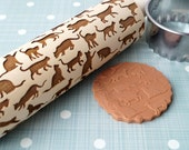 Embossing rolling pin, Cats design, Cookie decorating rolling pin