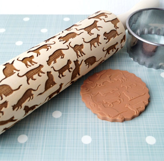 embossing rolling pin cats design cookie decorating rolling. Black Bedroom Furniture Sets. Home Design Ideas