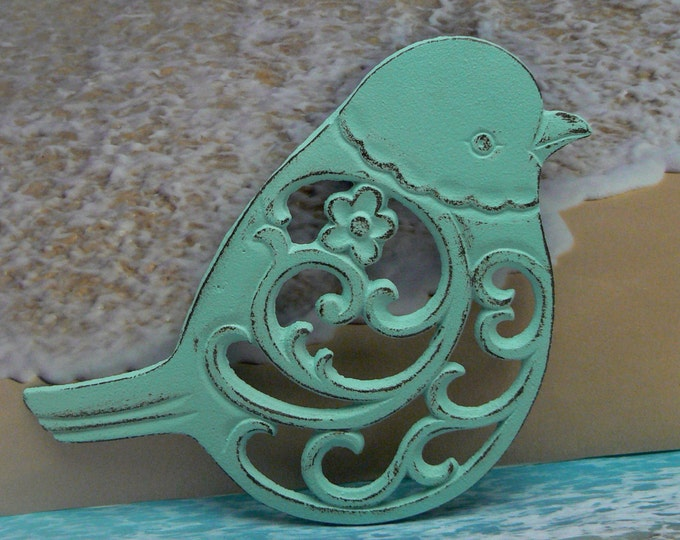 Cast Iron Bird Floral Trivet Beach Blue Cottage Chic Kitchen Decor