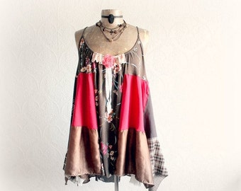 Boho PLus Size Summer Babydoll Hippie Patchwork Country Clothing Bohemian Gypsy Upcycled Clothes Loose Fitting Chic Layered Shirt 1X 'FINLEY