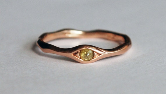 10k Rose Gold and Yellow Diamond Eye Ring