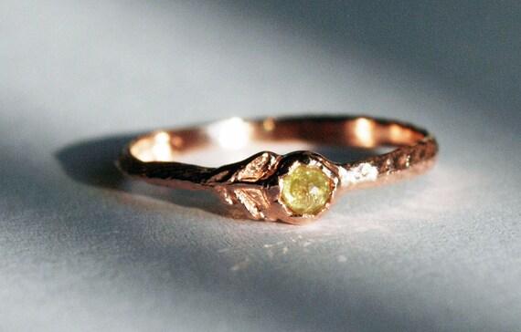 Rose Gold & Yellow Diamond Flower Ring