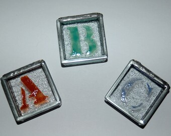 Stenciled ABC Glass Trinket Boxes
