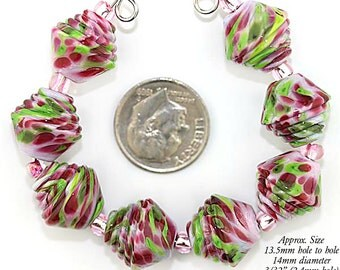 Fuchsia Pink, Pale Pink and Lime green  Murano Glass Half Ribbed Bicone lampwork beads - Made to Order