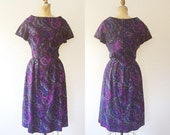 1960s dress / vintage wool dress / Purple Paisley dress