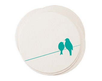 Turquoise Love Birds on a High Wire - Letterpressed Paper Coasters