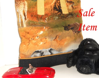 Safari Themed Child Book Bag / Tote / Overnight / Travel / Toy / Party Favor Bag / SALE / REDUCED