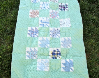 Vintage 1984 Hand-Made Baby Quilt/BabyBlanket/Lap Blanket/Completely Hand-Stitched/Signed and Dated 1984/Minty Green with Blue