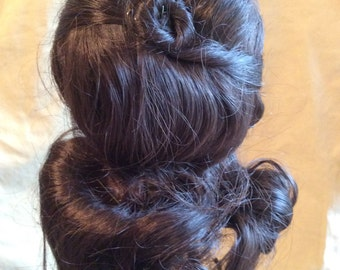 Vintage Dark Brown Doll wig, made in USA, synthetic, long curls