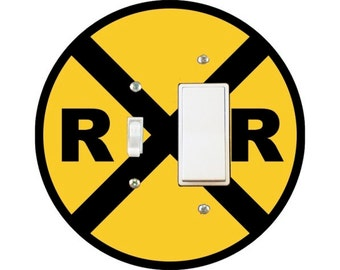 Railroad Crossing Sign Toggle and Decora Rocker Switch Plate Cover