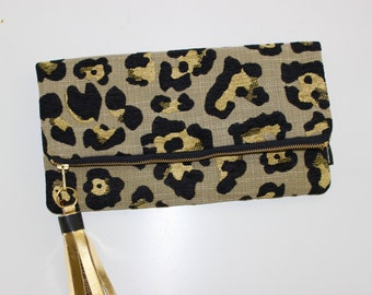Cheetah Print Fold over Clutch Bag, Cheetah Clutch, Fashion Trend, Animal Print Bag