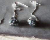 Sterling earrings titanium pyrite druzy nugget ear threaders Meteorites