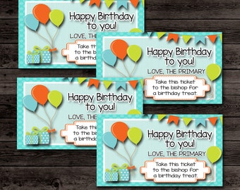 LDS Primary Birthday Tags- (10) 2x3.5 Cards- Instant download