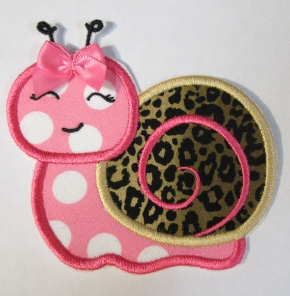 Iron On Applique - Girly Snail with Bow