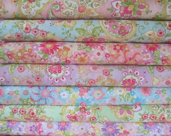 Violet Rose Blue Green Colette Half Yard Fabric Bundle - Moda - Chez Moi