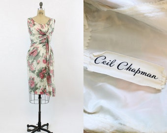50s Ceil Chapman Dress Medium /  1950s Rose Print Silk Dress /  Garden at Night Dress