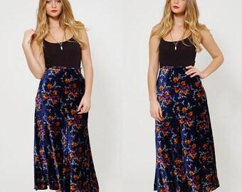 Vintage 70s Betsey JOHNSON Skirt Rare 1970s ALLEY CAT Velvet Floral Maxi Skirt Boho Maxi Skirt