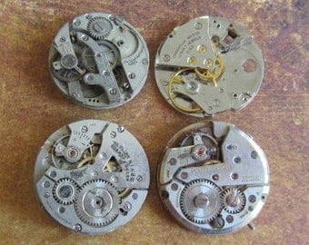 Vintage Antique Watch movements parts Steampunk - Scrapbooking q99