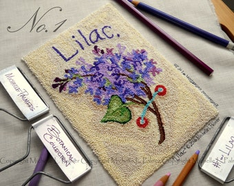 Lilac Flower No. 1 in Botanical Collection Punch Needle Embroidery DIGITAL Jpeg and PDF PATTERN Michelle Palmer Painting with Threads