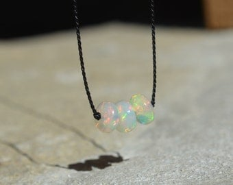 Ethiopian Opal Knotted Silk Necklace