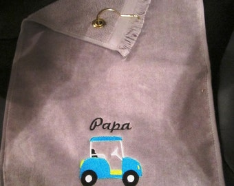 Embroidered Personlized FRINGED Golf Towel with Grommet- GOLF CART