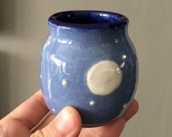 Bud Vase - Small, Light Blue Full Moon, Handmade Ceramics