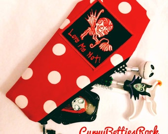 Coffin Shaped Make up bag/pouch in red with white polka dots!