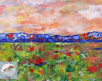Colorful Landscape Painting fine art acrylic on canvas Modern Expressionist Art Painting Field of Flowers Original Abstract Wall Decor